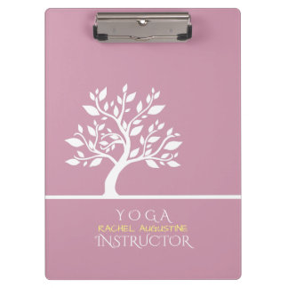 Modern Pink Elegant Classy Tree YOGA Instructor Clipboard