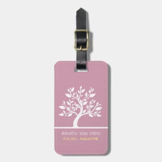 Modern Pink Elegant Classy Tree Yoga Instructor Luggage Tag