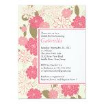 "Modern Pink Floral Bridal Shower Invitation 5"" X 7"" Invitation Card"