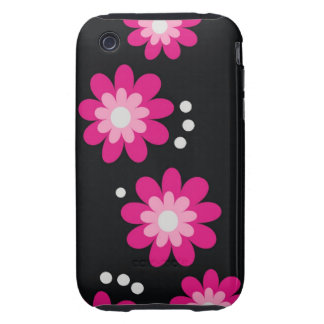 Modern Pink Flowers On Black TOUGH iPhone 3 Tough Cover
