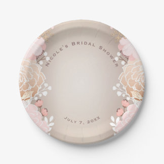 Modern Pink & Gold Floral Bridal Shower Any Event Paper Plate