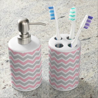 Modern Pink Gray Chevron zigzag bath decor Soap Dispenser And Toothbrush Holder