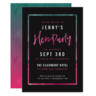 Modern Pink & Green Hen Party Invitations