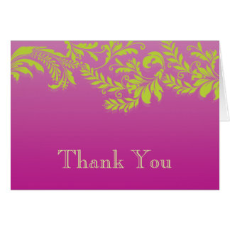 Modern Pink & Green Leaf Flourish Thank You Note Card