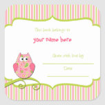 Modern Pink & Green Owl Paisley Book Plates Square Sticker
