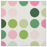 Modern pink green polka dots pattern monogram fabric