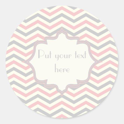 Modern pink, grey, ivory chevron pattern custom sticker