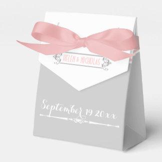 Modern pink, grey, white vintage wedding favour box