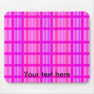 Modern pink grid design with a violet stripes mousepad