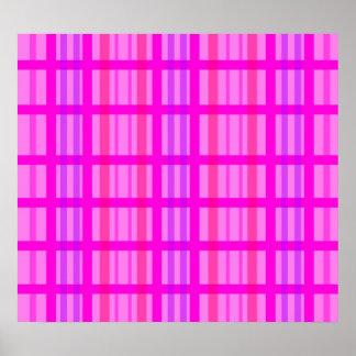 Modern pink grid design with a violet stripes poster