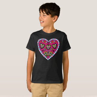 Modern Pink Heart Flames Go Pattern Kids T-Shirt