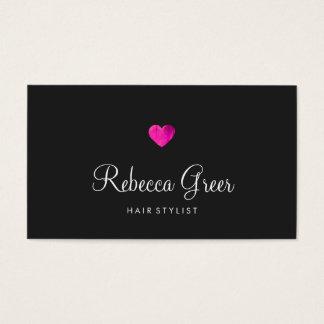Modern Pink Heart Hair Stylist Black Business Card