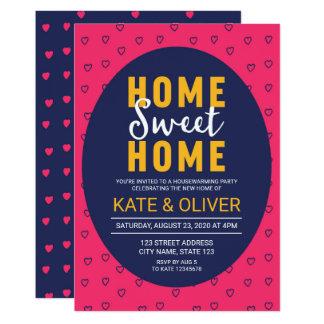 Modern Pink Hearts Home Sweet Home Housewarming Card