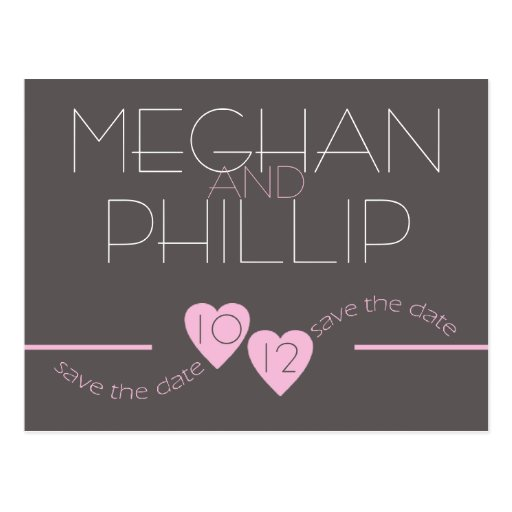 Modern Pink Hearts Save the Date Post Card