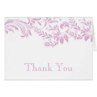 Modern Pink  Leaf Flourish Thank You Note Note Card