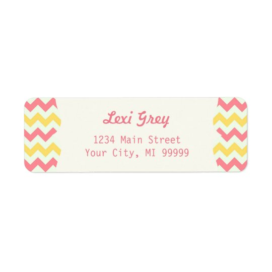 Modern Pink Lemonade Chevron Address Return Address Label