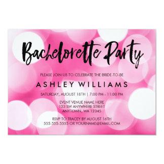 Modern Pink Lights Bachelorette Party Invitations