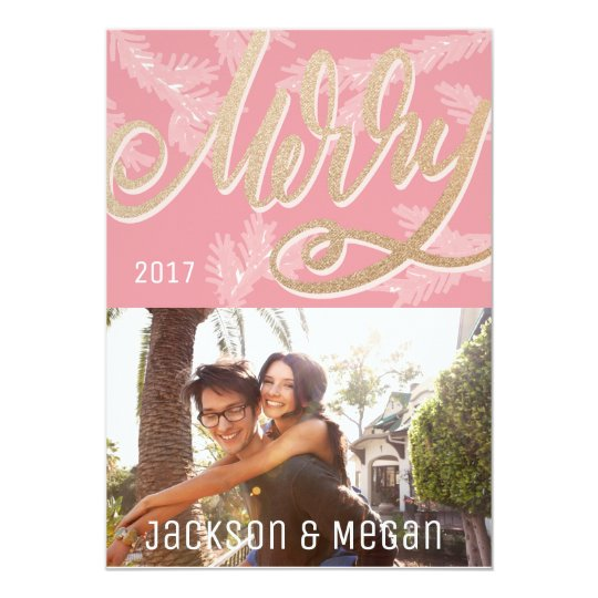 Modern Pink Merry Script Faux Gold Holiday Photo Card