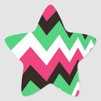 Modern Pink Mix Chevrons Star Sticker
