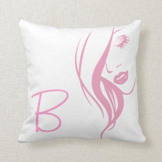 Modern Pink Monogram Girly Bedroom Salon Pillow Throw Cushions