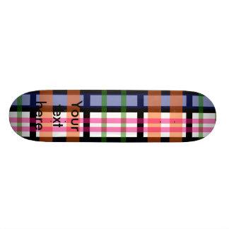 Modern pink orange and green plaid skate boards