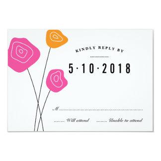 Modern Pink Orange Flowers White Wedding RSVP Card 9 Cm X 13 Cm Invitation Card
