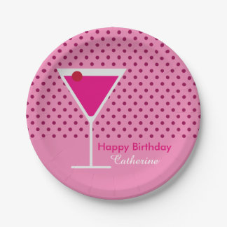 Modern Pink Polka Dot Martini Custom Birthday Paper Plate