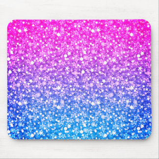 Modern Pink Purple And Blue Glitter Mouse Pad