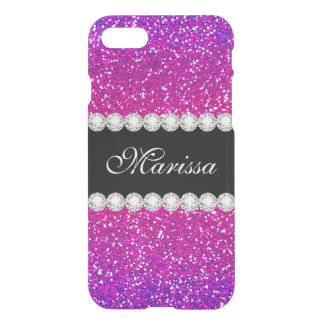 Modern Pink Purple Glitter Ombre Bling Cool iPhone 8/7 Case
