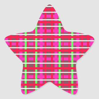 Modern pink red and green plaid star sticker