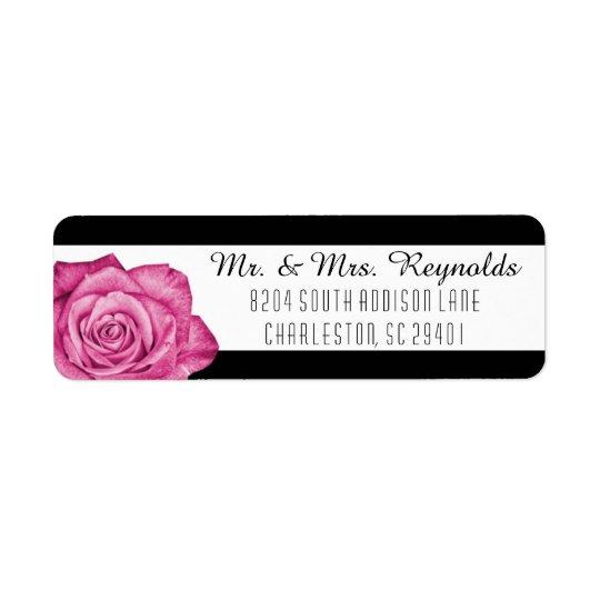 Modern Pink Rose Black & White Striped Custom Return Address Label