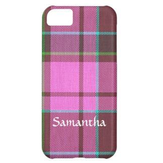 Modern pink tartan personalized iPhone 5C case