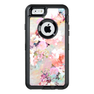 Modern pink teal watercolor chic floral pattern OtterBox iPhone 6/6s case