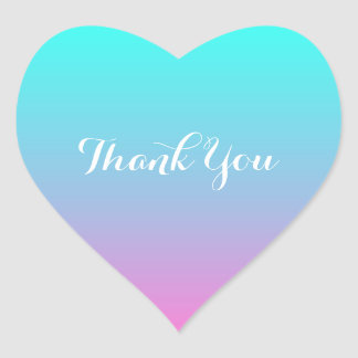modern  pink turquoise ombre wedding thank you heart sticker