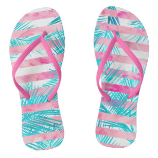 Modern pink turquoise palm tree watercolor stripes thongs