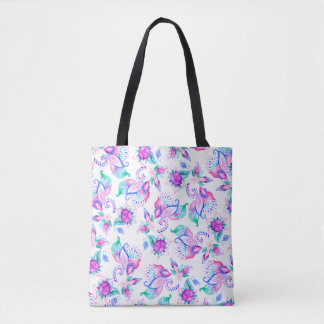 Modern pink turquoise watercolor floral paisley tote bag