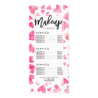 Modern pink watercolor love hearts Valentines Rack Card