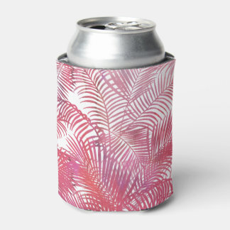 Modern pink  watercolor tropical palm tree leaves