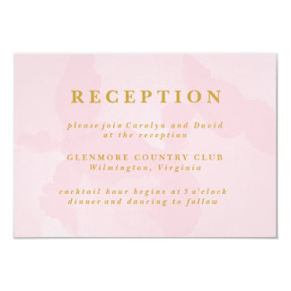 Modern Pink Watercolor Wedding Reception Card
