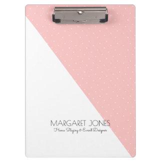 Modern Pink & White Geometric Design Clipboard