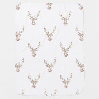 Modern Pink White Vintage  Floral Deer Head Baby Blanket