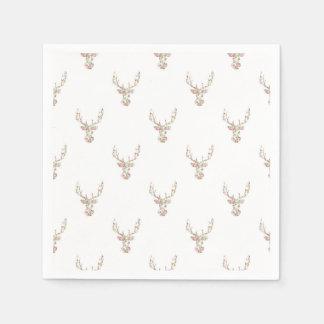 Modern Pink White Vintage  Floral Deer Head Disposable Napkins