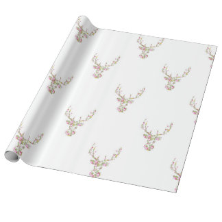 Modern Pink White Vintage  Floral Deer Head Wrapping Paper