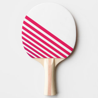 Modern Pinkish Red Linear Stripes and White Ping Pong Paddle