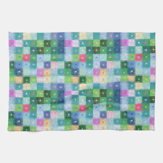 Modern pixel block colorful country patches tea towel