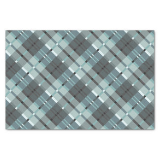 Modern Plaid Pattern in Blue and Grey Tissue Paper