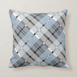 Modern Plaid Pattern in Grey and Sky Blue Throw Pillow