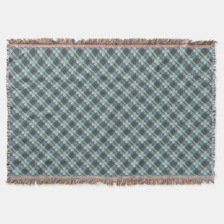 Modern Plaid Pattern in Teal and Grey Throw Blanket