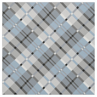 Modern Plaid Pattern Light Blue and Grey Fabric