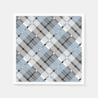 Modern Plaid Pattern Light Blue and Grey Disposable Napkin